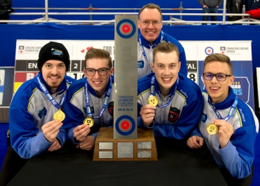 Shawinigan PQ,January 21, 2018.New Holland Canadian Junior Curling Championship.Men's Finals.B.C. (L-R), skip Tyler Tardi, third Sterling Middelton, second Jordan Tardi, lead Zac Curtis. coach Paul Tardi. Curling Canada/ michael burns photo